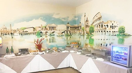 Restaurant oasis frühstück ele green park hotel pamphili rom, italien